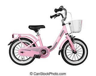Pink kids bike isolated