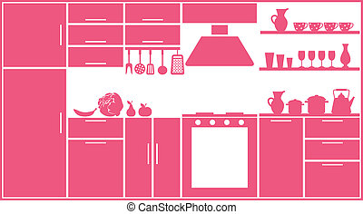 Pink kitchen silhouette