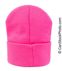 Pink knitted hat isolated on white