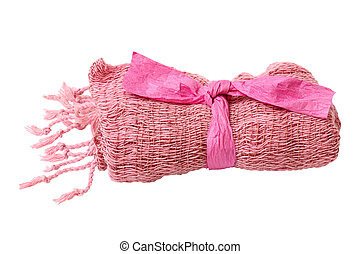 pink knitted scarf isolated on white background