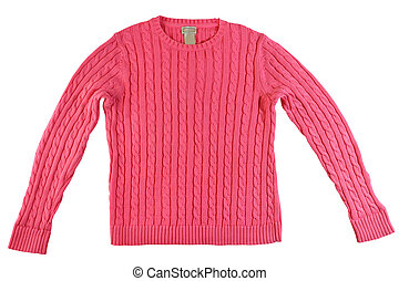 Pink knitted sweater isolated on white background