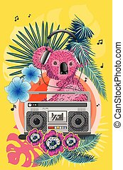 Pink koala with boombox