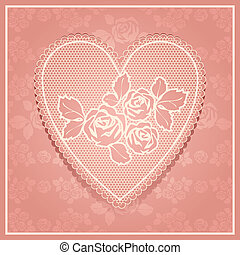 Pink lace in heart shape