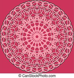 Pink lacy round frame