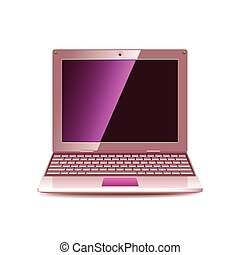 Pink laptop isolated on white vector