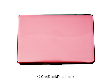 pink laptop white background