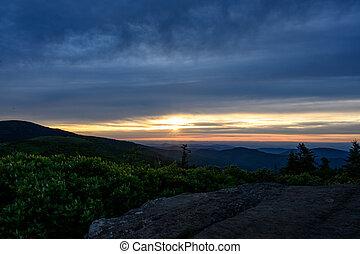 Pink Layers of Sunset Falling Over Blue Ridge