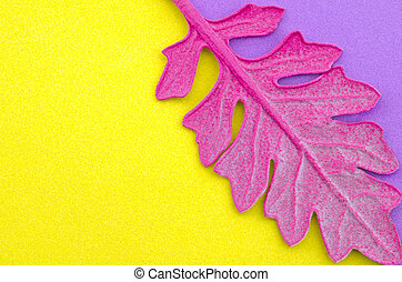 Pink leaf on colorful paper background. Fashion minimal pop art style.