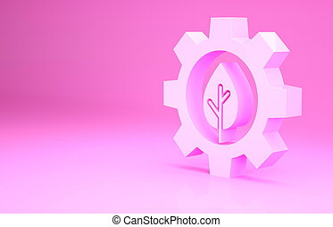 Pink Leaf plant ecology in gear machine icon isolated on pink background. Eco friendly technology. World Environment day label. Minimalism concept. 3d illustration 3D render