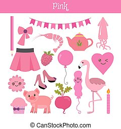Pink. Learn the color. Education set. Illustration of primary colors