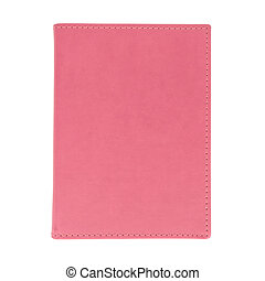 Pink leather book isolated on white background
