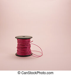 Pink leather rope reel (1)