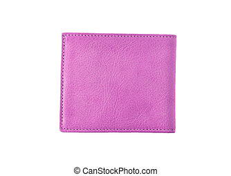 Pink leather wallet isolated on white background