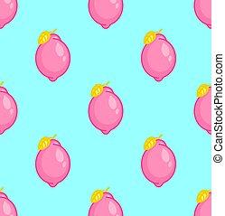 Pink Lemon pattern seamless. fruit background. Baby fabric texture
