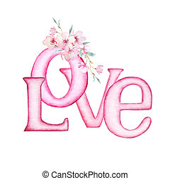 Pink letters LOVE with flowers