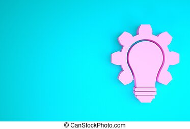 Pink Light bulb and gear icon isolated on blue background. Innovation concept. Business idea. Minimalism concept. 3d illustration 3D render