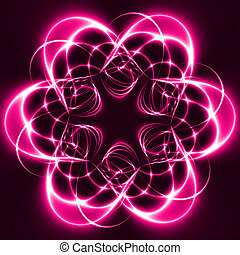 Pink Lights in the dark forming a flower, fractal02z7e