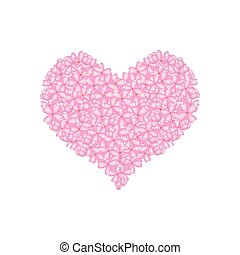 Pink Lilac or Syringa Vulgaris in A Heart Shape