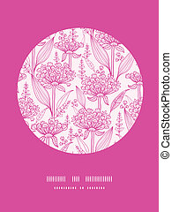 Vector pink lillies lineart circle decor pattern background with hand drawn elements