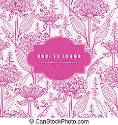 Vector pink lillies lineart frame seamless pattern background with hand drawn elements