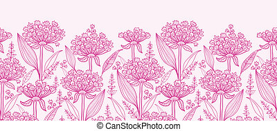 Vector pink lillies lineart horizontal border seamless pattern background with hand drawn elements