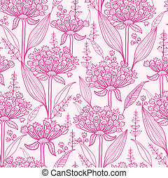 Pink lillies lineart seamless pattern background - Vector...