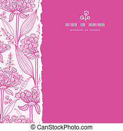 Vector pink lillies lineart square torn seamless pattern background with hand drawn elements