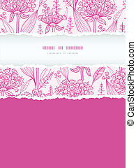 Vector pink lillies lineart vertical torn frame seamless pattern background with hand drawn elements