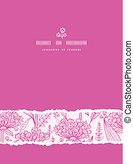 Vector pink lillies lineart vertical torn seamless pattern background with hand drawn elements