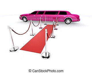 pink limo - 3d rendered illustration of a limousine on a red...