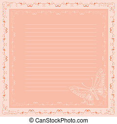 pink lined sheet of paper with butterfly