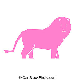 Pink lion isolated on white