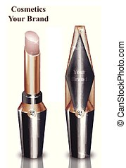 Pink lip stick Cosmetics packaging mock up Vector realistic....
