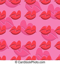 Pink lips seamless pattern on a background.