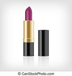 Pink lipstick isolated on white background