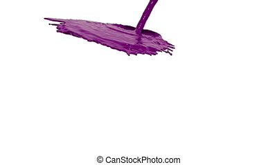 pink liquid flow falls down fills background. Colored paint...