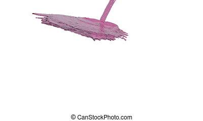 pink liquid flow falls down fills background