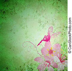 pink little flower fairy on the green spring or summer grunge background