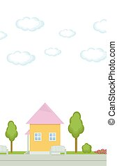 Pink little house in the park with trees and clouds in the sky on a white background vector illustration.