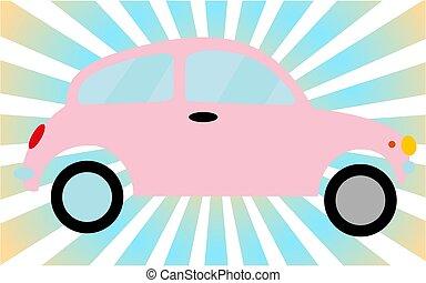 Pink little old retro hipster vintage antique two-door car, hatchback against the blue rays. Vector illustration