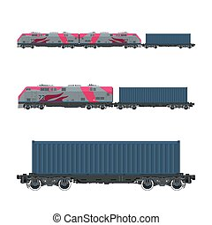 Pink Locomotive with Cargo Container