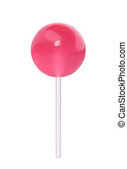 Pink lollipop isolated on white