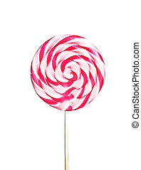 Pink lollipop isolated over white