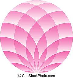 Pink lotus circle - symbol of yoga, wellness, beauty and spa. Vector illustration