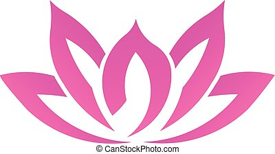 Pink lotus flower, business vector logo