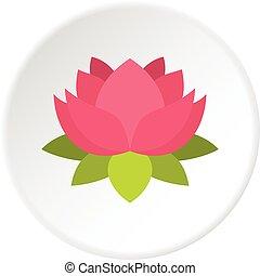 Pink lotus flower icon circle