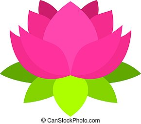 Pink lotus flower icon isolated