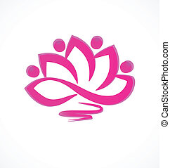 Pink lotus flower icon vector
