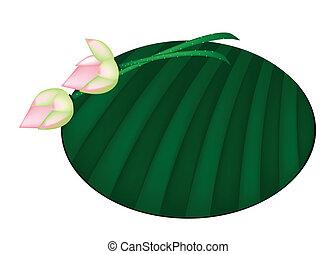 Pink Lotus Flower on Green Banana Leaf