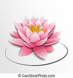 Pink lotus flower. Paper cutout. Vector illustration